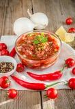 Salsa mexicana do molho com ingredientes Fotografia de Stock Royalty Free