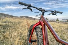 Salsa Mukluk fat bike on a single track trail Royalty Free Stock Image