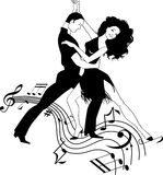 Salsa Music. Couple dancing Latin on a whirly musical stave, black and white vector clipart Royalty Free Stock Image