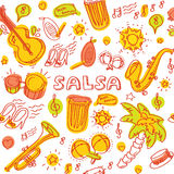 Salsa music and dance illustration with musical instruments, palms, etc Royalty Free Stock Photos