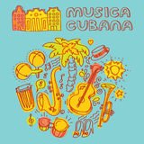 Salsa music and dance illustration with musical instruments, palms, etc Stock Photography
