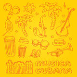 Salsa music and dance illustration with musical instruments, palms, etc Royalty Free Stock Photography