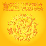 Salsa music and dance illustration with musical instruments, palms, etc Stock Images