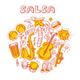 Salsa music and dance illustration with musical instruments, palms, etc Royalty Free Stock Photo