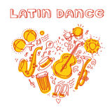 Salsa music and dance illustration with musical Stock Images