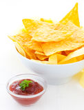 Salsa and nachos Royalty Free Stock Photo