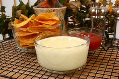 Salsa Nachos and Cheese Dip Royalty Free Stock Photos