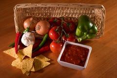 Salsa, nachos, ingrediënten Royalty-vrije Stock Afbeelding