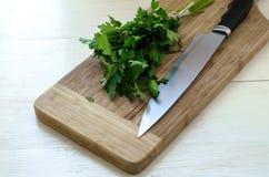 Salsa orgânica fresca com a faca na placa de corte de madeira Imagem de Stock