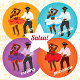 Salsa party or dance school poster with dancing Stock Photography