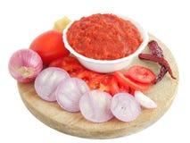 Salsa picante del tomate de la cebolla imagen de archivo