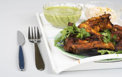 Salsa picante del verde del tandoori del pollo (SOS) en la parte posterior del blanco Imágenes de archivo libres de regalías