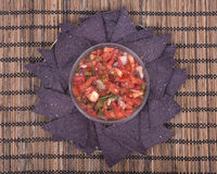 Salsa pico de gallo and blue corn tortilla chips Royalty Free Stock Photography