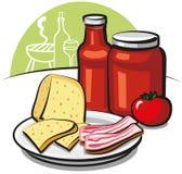Salsa, queso y tocino de tomate Fotografía de archivo libre de regalías