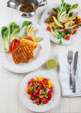Salsa salad with grilled cheese Royalty Free Stock Photography