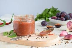 Salsa saporita dalle prugne, dall'aglio, dal coriandolo, dall'aneto e dal peperoncino rossi Tkemali georgiano su fondo bianco Aut fotografia stock