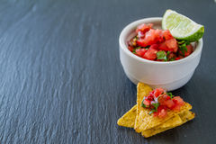Salsa sauce and nachos Stock Images
