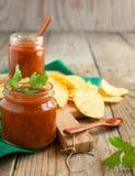 Salsa sauce and tortilla chips Stock Photos