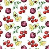 Salsa sem emenda do teste padrão dos vegetais da aquarela, abacate, tomat Fotografia de Stock Royalty Free