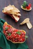 Salsa sin procesar fresca caliente con los tomates, cebollas, chile a Foto de archivo