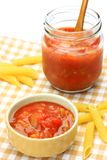 Salsa source and penne Royalty Free Stock Photos