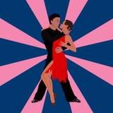 Salsa tana pary kobieta w wektorze i mężczyzna Międzynarodowy tango dzień Obraz Stock