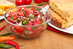 Salsa with Tomatoes, Onions, and Cilantro Stock Images