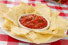 Salsa and tortilla chips Stock Images
