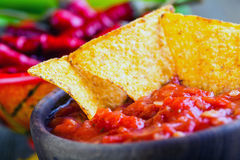 Salsa with tortilla chips and chilli peppers.Concept Stock Images