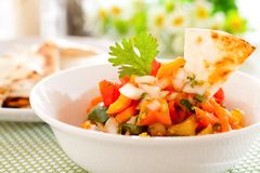 Salsa. Tortilla chips with spicy tomato salsa,Mexican food Stock Photo