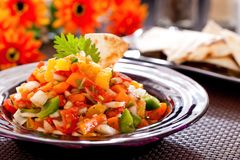 Salsa. Tortilla chips with spicy tomato salsa,Mexican food Stock Image