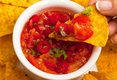 Salsa with tortilla chips Royalty Free Stock Image