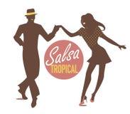 Salsa Tropical silhouettes. Young couple dancing latin music: salsa, mambo, rumba Stock Photos