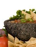 Salsa und Chip-Nahaufnahme lizenzfreies stockbild