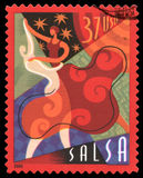 Salsa USA postage stamp. USA postage stamp of 2005 showing an abstract image of a couple dancing the Salsa Royalty Free Stock Photo