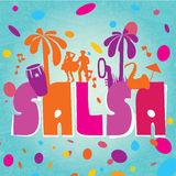 Salsa vector lettering with silhouettes of palms Stock Photography