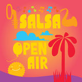 Salsa vector lettering with silhouettes of palms Royalty Free Stock Images