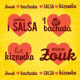 Salsa vector lettering with silhouettes of palms Stock Photo