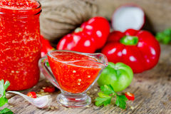 Salsa vegetal roja de Adzhika Foto de archivo libre de regalías