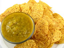 Salsa Verde and Chips Royalty Free Stock Images