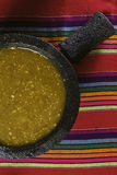 Salsa verde. Stock image of mexican salsa verde on mortar and pestle stock photo