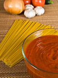Salsa y ingredientes de espagueti Imágenes de archivo libres de regalías