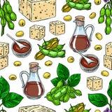 Salsa y queso de soja inconsútiles de soja de las sojas Fotografía de archivo