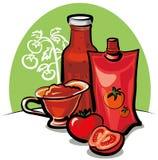 Salsa y salsa de tomate de tomate Foto de archivo libre de regalías