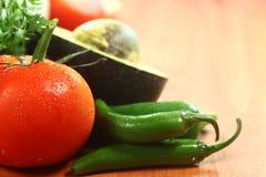 Salsaingredienser av avokadot, koriander, tomater och peppar Royaltyfria Bilder
