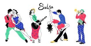 Salsaparteiplakat Satz elegante Paartanzensalsa Retro- Art Schattenbilder der tanzenden Salsa der Leute und des Musikertrompeters lizenzfreie abbildung