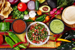 Salsas. Stock image of traditional mexican food salsas and ingredients Royalty Free Stock Photos