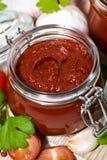 Salse al pomodoro, pasta ed ingredienti freschi su fondo di legno fotografie stock libere da diritti