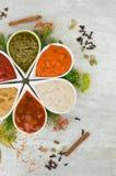Salse fresche saporite sotto forma del fiore con le spezie Aggiunta deliziosa ai piatti Immagini Stock
