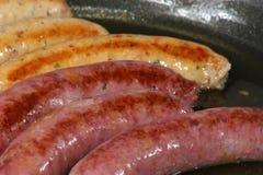 Salsicce cotte di maiale e del manzo Immagine Stock Libera da Diritti